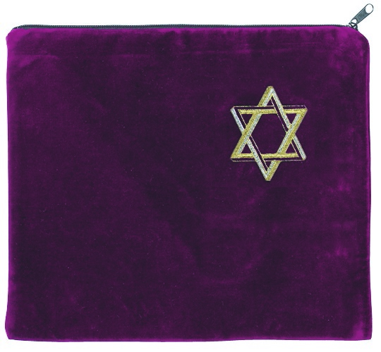 Star of David Tallis Bag. Maroon with primarily gold embroidery.