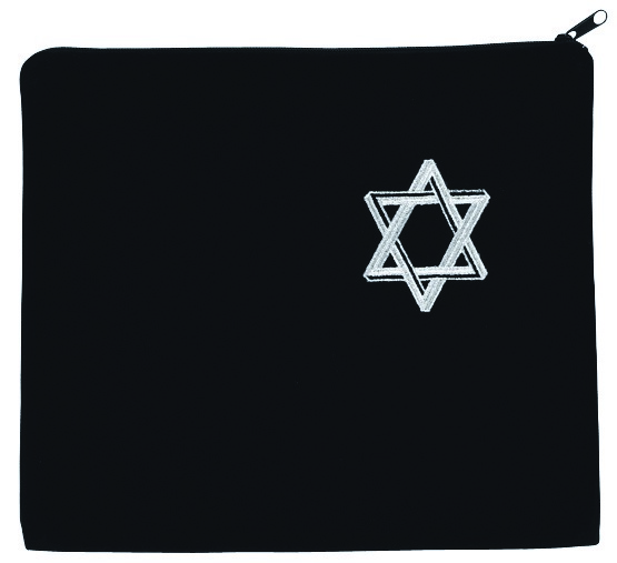 Star of David Tallis Bag.  Black with primarily silver embroidery.