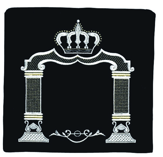 crown and arch tallis bag.  Black with primarily silver embroidery.