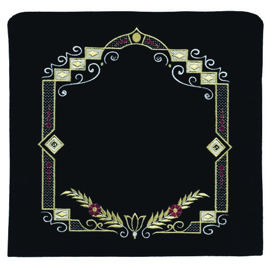 Detailed Square Tallis Bag.  Black with colorful embroidery.