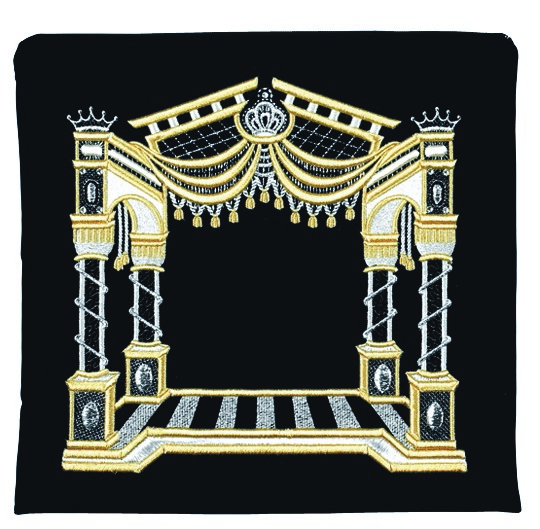 3D Canopy Tallis Bag. Black With Primarily Gold Embroidery