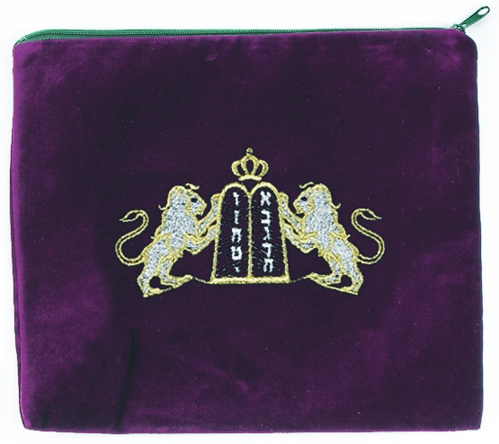 Ten Commandments Tallis Bag.  Maroon with primarily Silver Embroidery.