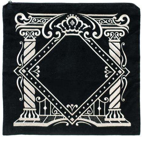 Elaborate Pillars Design. Navy with Primarily Gold Embroidery