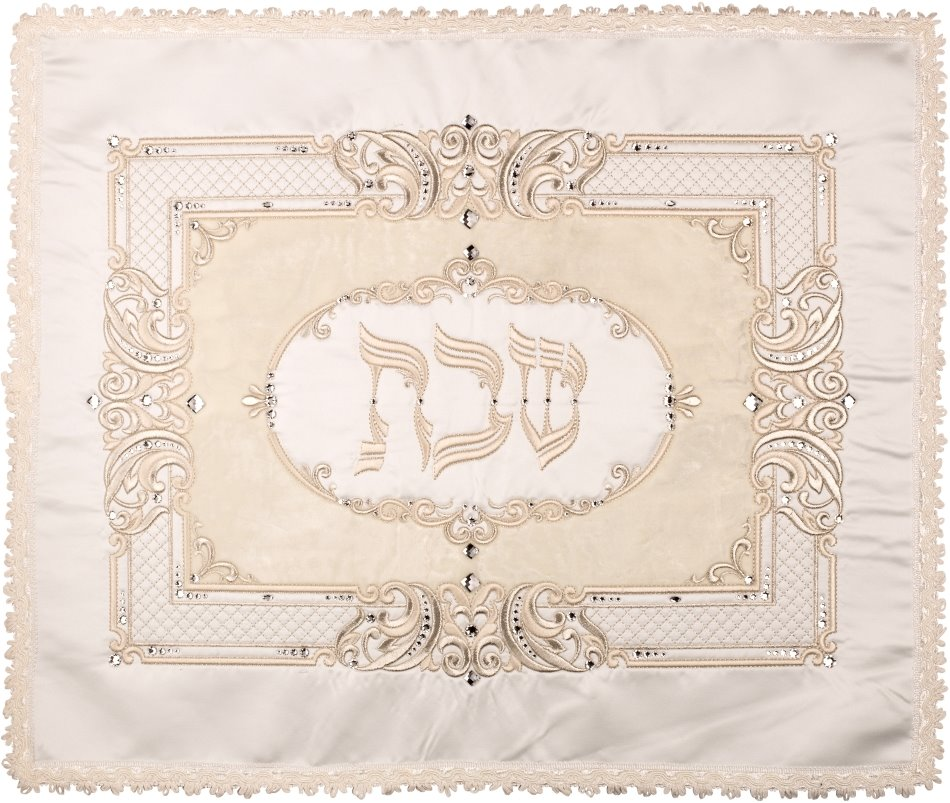 Challah Cover Satin With Crush Velvet With More Stones Large Silver