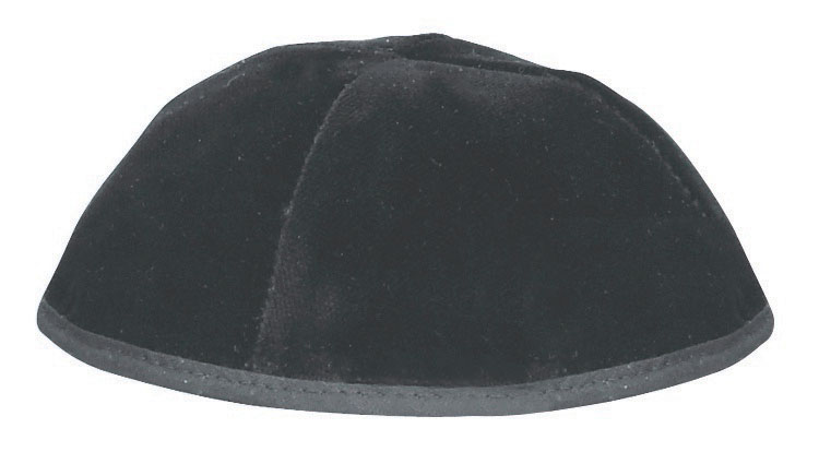 4 Part Rimmed Black Velvet Skullcap