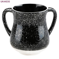 Elegant Black Aluminium Washing Cup - with Sparkling Silver Stripes