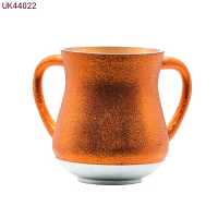Elegant Aluminum Washing Cup - In Red - Orange Glitter Coating