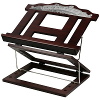 Wooden 2 Tone Book Stand 2 Positions with Top Silver plate