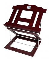 Wooden 2 Tone Book Stand 2 Positions with Silver Clock